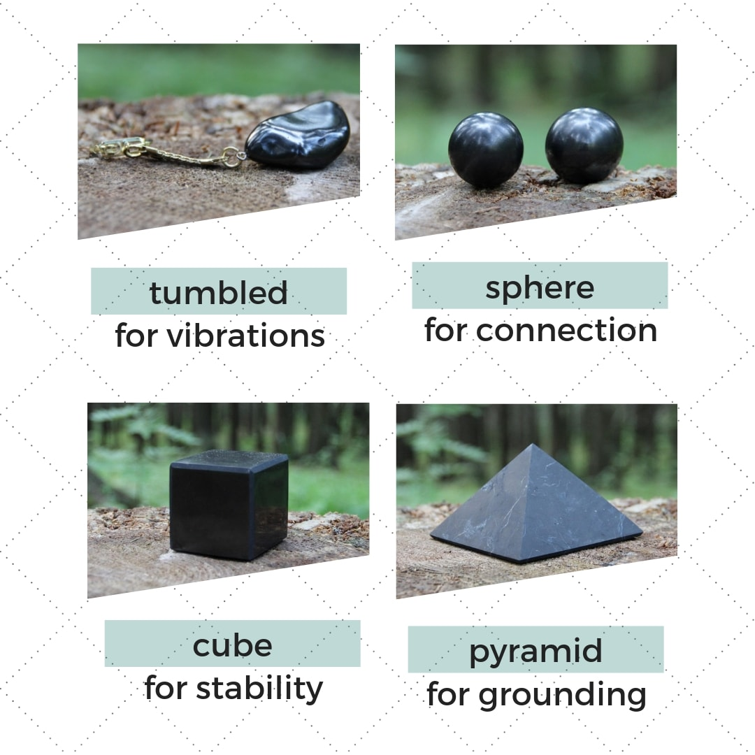 shungite-shapes-tumbled-sphere-cube-pyramid