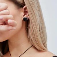 Shungite stud earrings with a tumbled stone