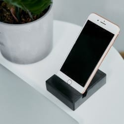 Polished shungite cell phone stand for EMF protection