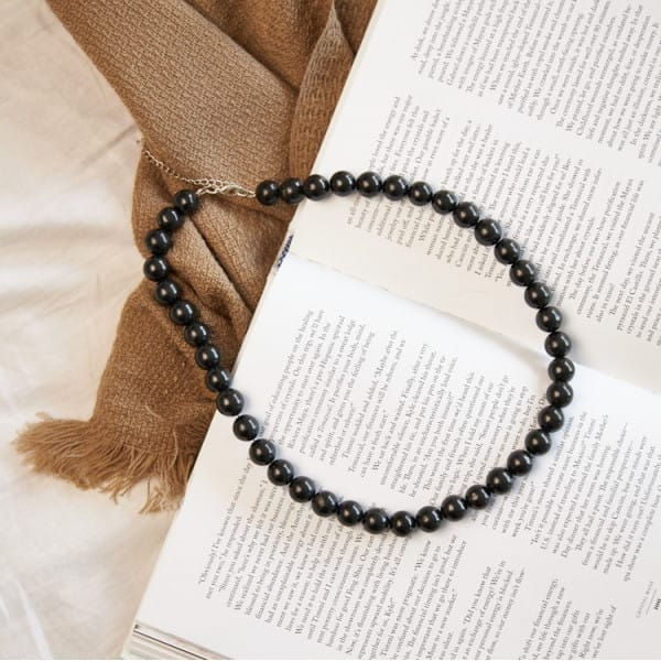 Shungite necklace with 42 round 12 mm beads