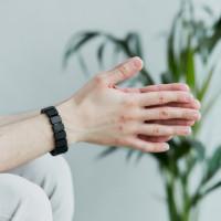 Shungite bracelet with non-polished rectangular beads on elastic band