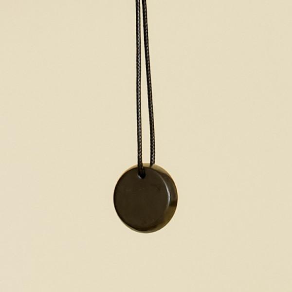 Small Shungite Thick Round Pendant