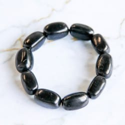 Shungite Bracelet With Big Tumbled Beads on Elastic Band