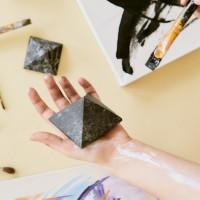 70 mm Non-polished shungite and quartz pyramid