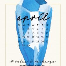 Crystal Phone Wallpaper & April 2019 Calendar by Karelian Heritage