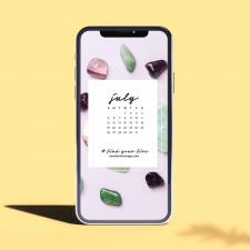 Crystal Phone Wallpaper & July 2020 Calendar by Karelian Heritage