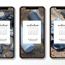 Crystal Phone Wallpaper & October 2020 Calendar by Karelian Heritage