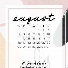 Crystal Phone Wallpaper & August 2019 Calendar by Karelian Heritage