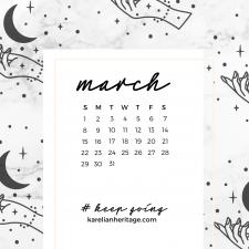 Crystal Phone Wallpaper & March 2020 Calendar by Karelian Heritage