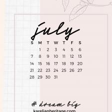 Crystal Phone Wallpaper & July 2019 Calendar by Karelian Heritage