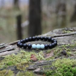 Shungite and Amazonite crystal beaded bracelet