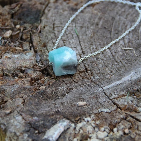 Amazonite necklace on a chain with raw crystal bead
