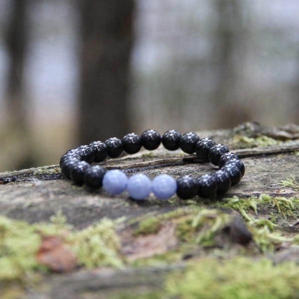Shungite and Angelite natural stone bracelet
