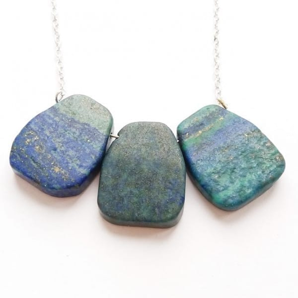 Chrysocolla necklace on a chain with 3 big trapeze beads