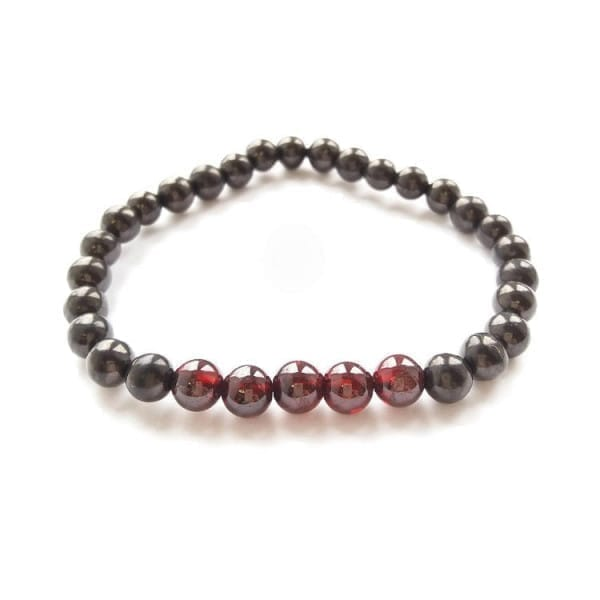 Shungite bracelet with round shungite beads and round garnet beads