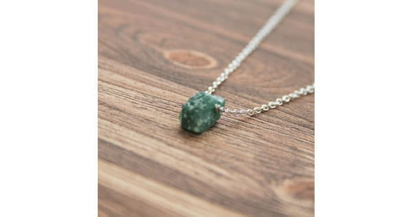 06ae65769dc07 Green aventurine necklace on a chain with a raw bead