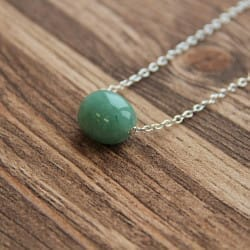 Green aventurine necklace on a chain with a tumbled bead