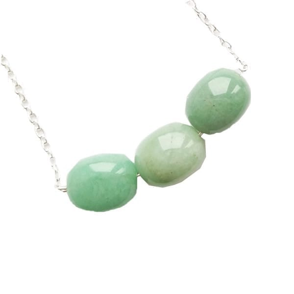 Green aventurine necklace on a chain with 3 tumbled beads
