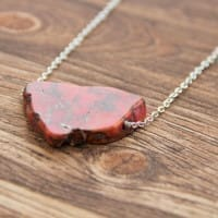 Jasper necklace on a chain with one slice bead