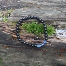 Shungite and kyanite natural stone beaded bracelet