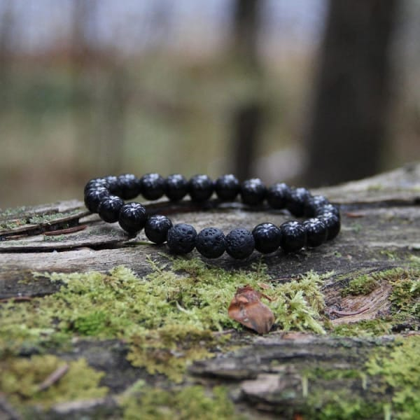 Shungite and lava stone beaded bracelet