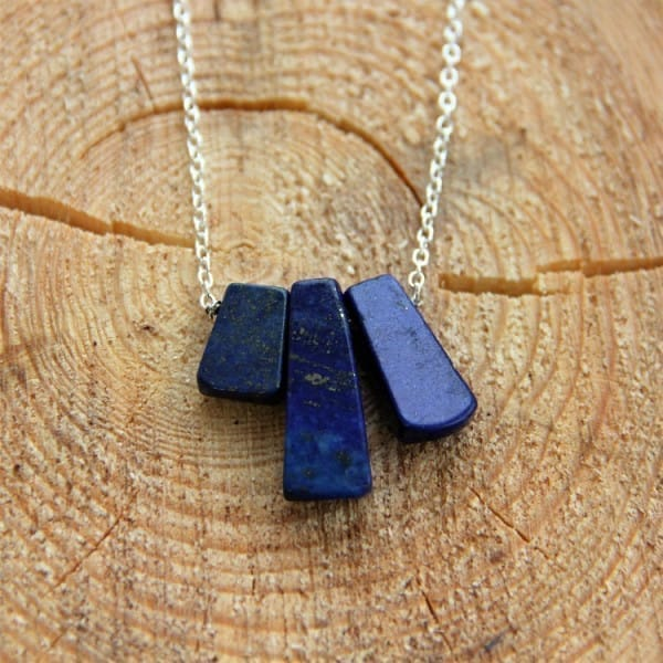Lapis Lazuli necklace on a chain with 3 trapeze beads