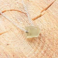Lemon quartz necklace on a chain with a raw bead