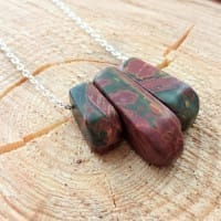 Picasso Jasper necklace on a chain with 3 trapeze beads