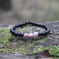 Shungite and pink opal crystal bracelet