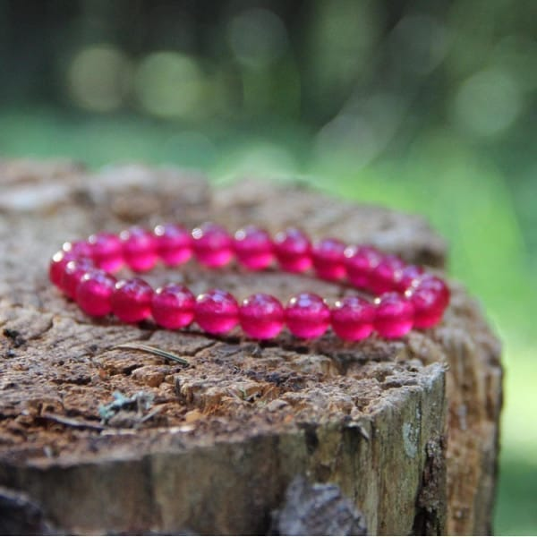 Plum jade natural stone bracelet with round beads