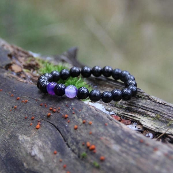 Shungite and purple agate protective bracelet