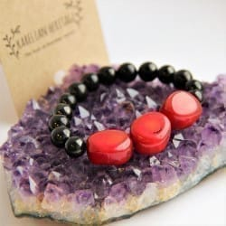 Shungite bracelet with round shungite beads and red coral tumbled beads