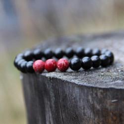 Shungite and red jasper crystal energy bracelet