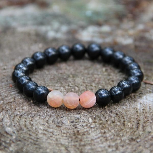 Shungite stone beaded bracelet with frosted orange agate beads