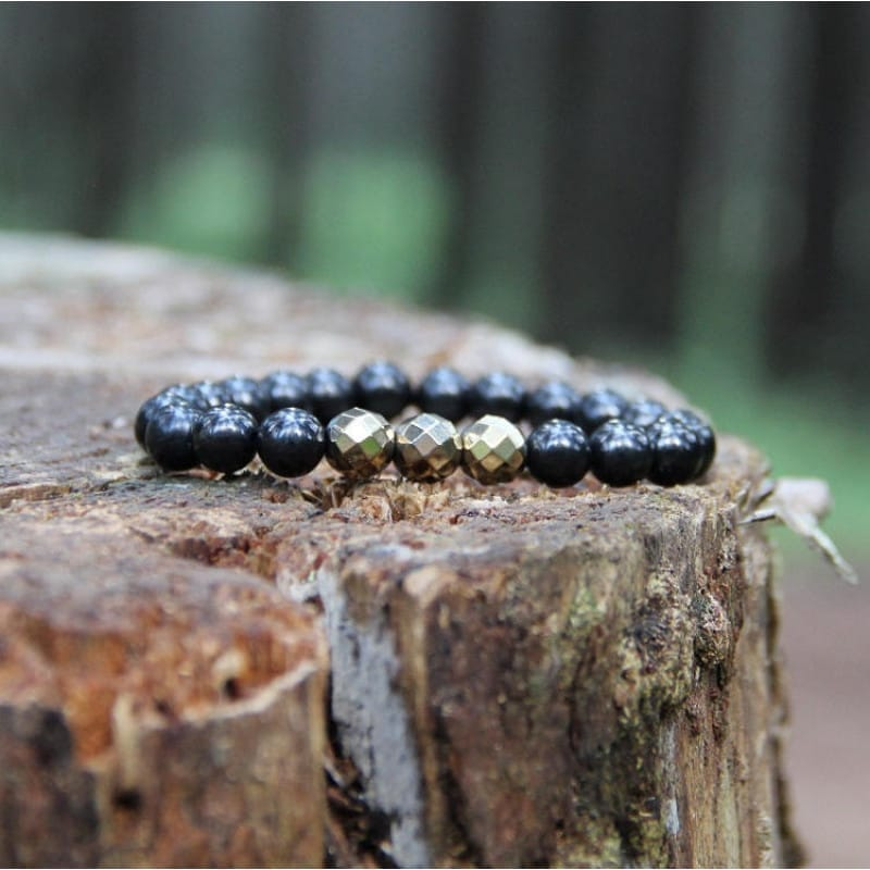 Buy shungite and golden painted hematite beaded bracelet for