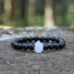 Shungite beaded bracelet with raw white quartz