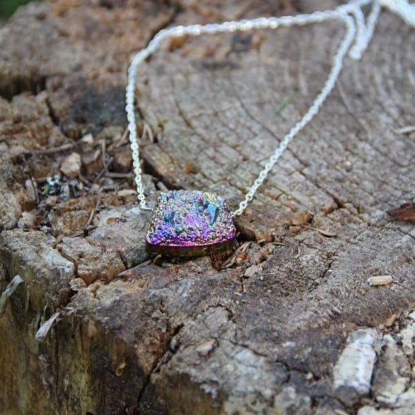 Titanium quartz necklace on a chain with raw bead