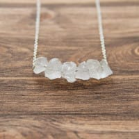 White quartz necklace on a chain with small raw beads