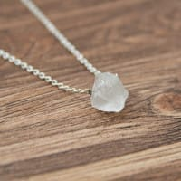 White quartz necklace on a chain with a raw bead
