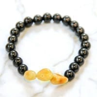 Shungite and Amber Protective Bracelet on Elastic Band