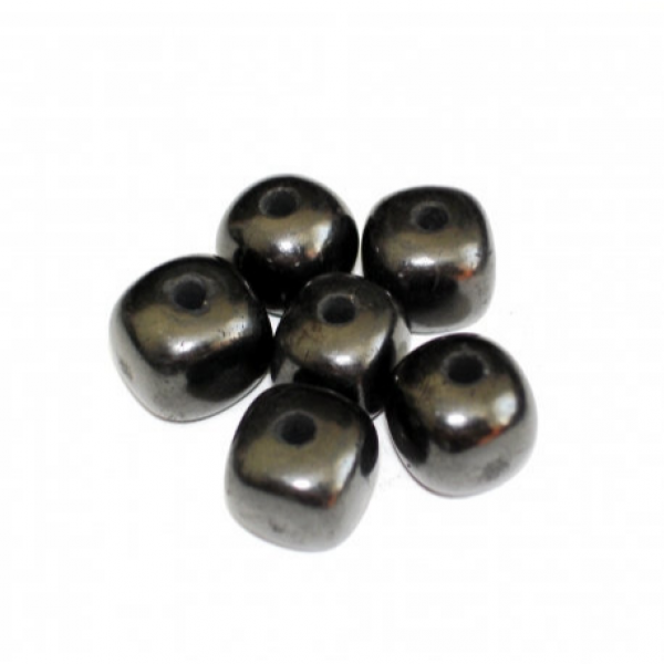 Shungite cubic stone 9 mm beads 10 pieces