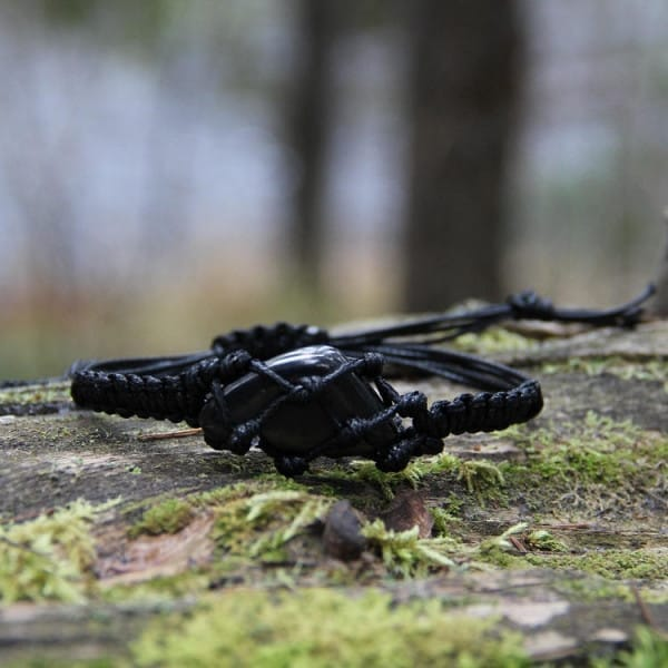 Tumbled shungite macramé bracelet for EMF protection