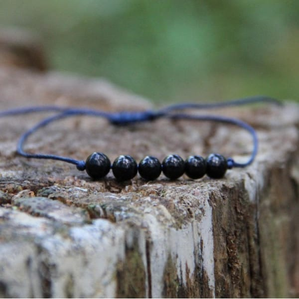 Shungite string beaded bracelet