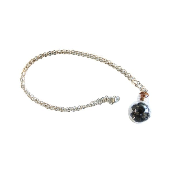 Shungite chips bottle necklace on a chain