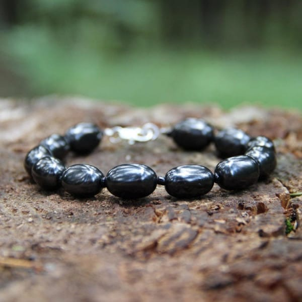 EMF protection shungite bracelet with oval beads