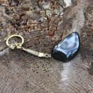 Shungite protective key charm with tumbled shungite stone
