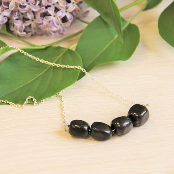 Shungite necklace on a chain with big shungite tumbled stones