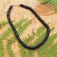 Shungite necklace with oval rondelle beads
