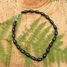 Shungite necklace with barrel beads