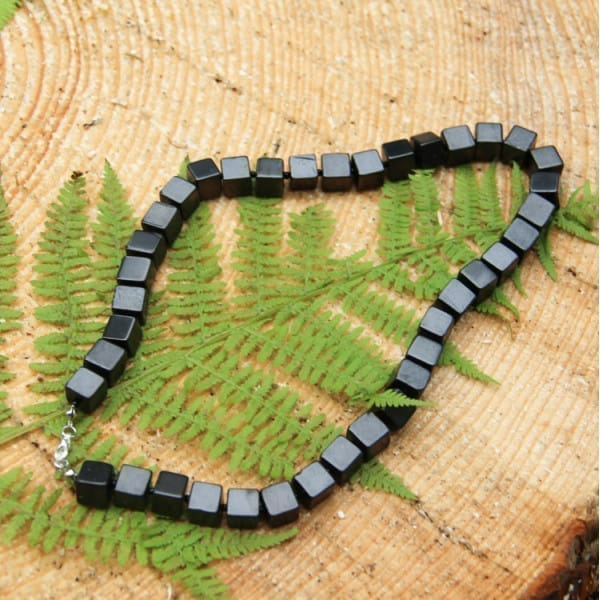 Shungite necklace with cubic beads